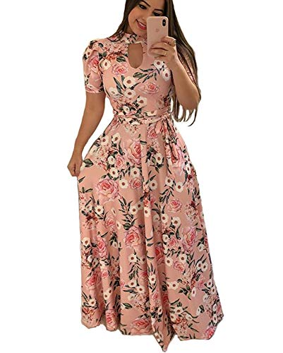 Aublary Women's Floral Maxi Dress Short Sleeve Faux Wrap Maxi Long Dresses with Removable Belt (Pink + Flower, M) ()
