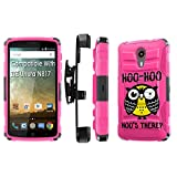 ZTE [Uhura] Armor Case [SlickCandy] [Black/ Hot Pink] Heavy Duty Defender [Holster] [Kick Stand] Phone Case - [Hoo is There Owl] for ZTE Uhura [N817]