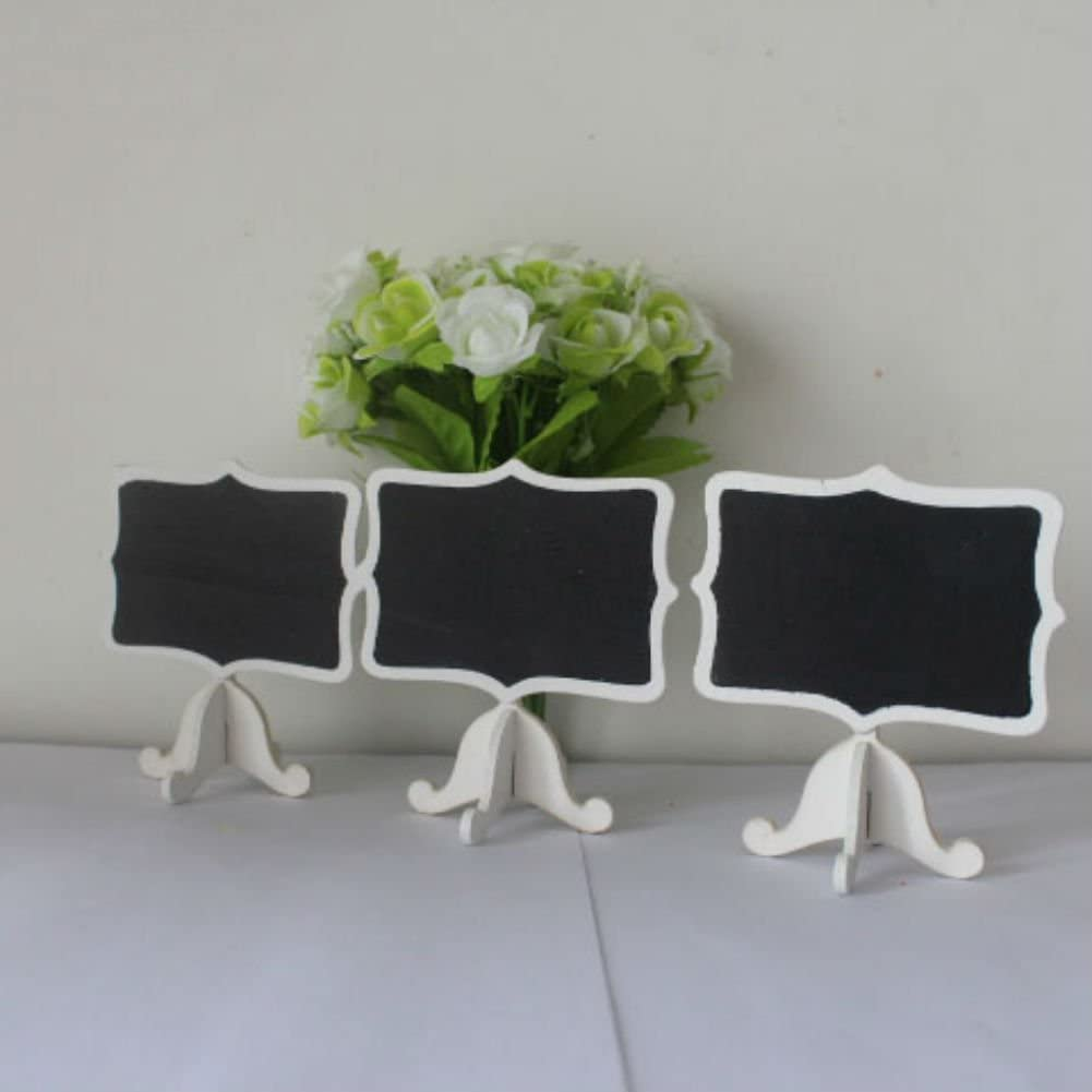 AKOAK 12 Pack Mini Rectangle White Frame Chalkboards with Support Easels for Message Board Signs, Weddings and Parties