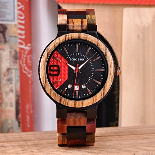 BOBO BIRD Men's Colorful Wooden Watches Analog Quartz Date Display Wood Watch Handmade Luxury Casual Wristwatch with Gifts Box for Men