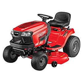 Craftsman T150 19 HP Briggs & Stratton Gold  46-Inch Gas Powered  Riding Lawn Mower 26 POWERFUL BRIGGS AND STRATTON GAS ENGINE WITH READY START: Powerful gas engine suitable for larger yard jobs while ready start technology provides a quick, efficient start. 46-INCH CUTTING DECK WITH INCLUDED DECK WASH: Lawn tractor comes equipped with wide 46-Inch cutting deck for cutting, trimming, and clipping grass in one quick sweep. Included deck wash saves time when underside cleaning. HYDRO-TRANSMISSION: Unit is equipped with hand adjustable hydrostatic transmission.