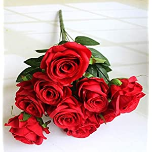 TopSZ Fake Flowers Artificial 9 Big Roses on 1 Branch Silk Flowers Bouquet Wedding Home Decoration, Pack of 1 63