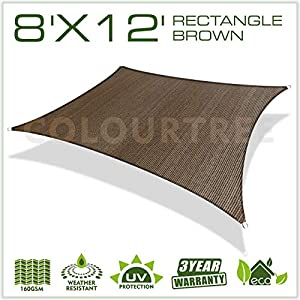 ColourTree 8′ x 12′ Brown Rectangle Sun Shade Sail Canopy Awning Shelter Fabric Cloth Screen – UV Block UV Resistant…