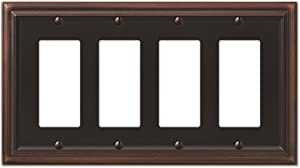 AMERELLE 94R4VB Continental Quadruple Rocker Cast Metal Wallplate in Aged Bronze
