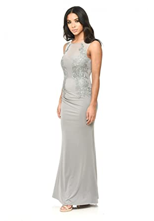 AX Paris Womens Floor Length Fitted Dress With Lace Detail(Grey, ...