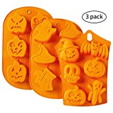 Halloween Silicone Baking Molds - 3pc Nonstick Cake Molds FDA Aproved Material - Muffin Mold with Pumpkin, Evil, Skull, Ghost - Perfect to Make Pudding, Ice Cube, Chocolate, Cupcakes, Lilopp