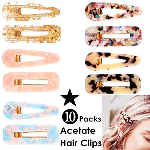 ANGELANGELA 10Pcs Acrylic Resin Hair Clips, Fashion Geometric Alligator Hair Barrettes, Acetate Hair accessories for Women Girls Kids, Leopard Pattern Shell Marble Hair Pin