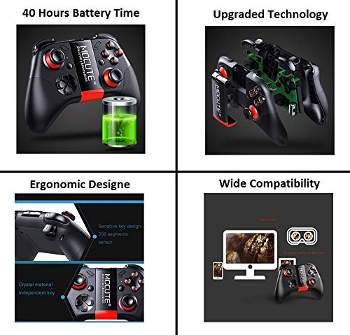 OS Gamepad Gaming Joystick with Holder Remote Control for Android Laptop Tablet Steam Games PC Samsung Gear VR Bluetooth Wireless Video Game Controller TV Box Mobile Smart Phone