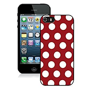 BINGO best quality Polka Dot Dark red and White iPhone 5 5S Case Black Cover
