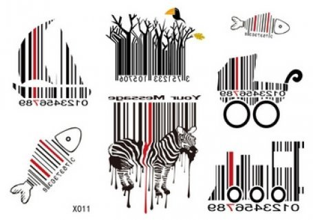 SPESTYLE waterproof non toxic fashionable and beautiful tattoos stickers different barcode, fish barcode, horse barcode, boat barcode, tree barcode, shopping cart barcode temporary tattoos stickers