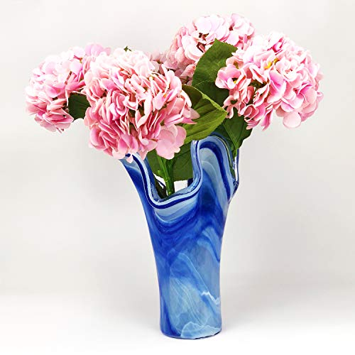 Antico Murano Hand Blown Murano Glass Tall Blue Vase, Made in Italy