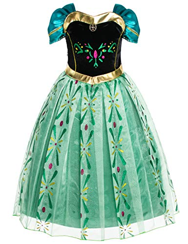 Princess Anna Costumes Birthday Party Dress Up for Little Girls 6T 7 (130cm)