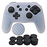 YoRHa Studded Silicone Cover Skin Case for Nintendo Switch Pro controller x 1(clear white) With Pro thumb grips x 8 For Sale