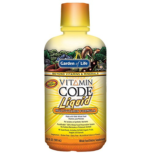 Garden of Life Multivitamin - Vitamin Code Liquid Raw Whole Food Vitamin Supplement, Vegetarian, No Preservatives, Orange Mango, 30oz Liquid