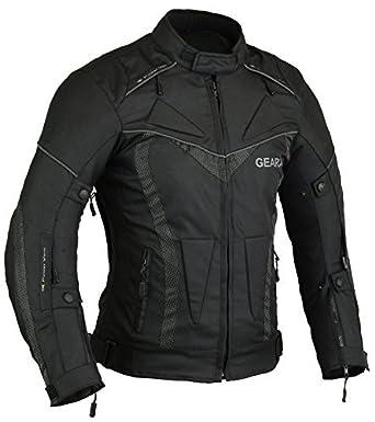 ea0a8aa2d6b GearX BorneAir Motorcycle Jacket Motorbike Coat Black: Amazon.co.uk ...