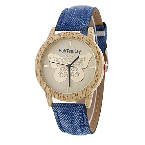 Denim Womens Watch (MINILUJIA Elegant butterfly Bamboo Color 40mm Dial Women Watch with Leather Strap Blue Jeans Color)