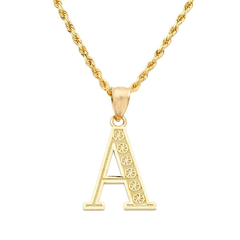 LOVEBLING 10K Yellow Gold Diamond Cut A to Z Alphabet Initial Letter...