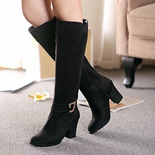 Show Shine Womens Charm Knee-High Block-Heel Nubuck Western Boots Black WGN6y
