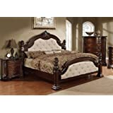Furniture of America Monte Ivory Leatherette Bed with Flora Motif, Eastern King, Dark Walnut