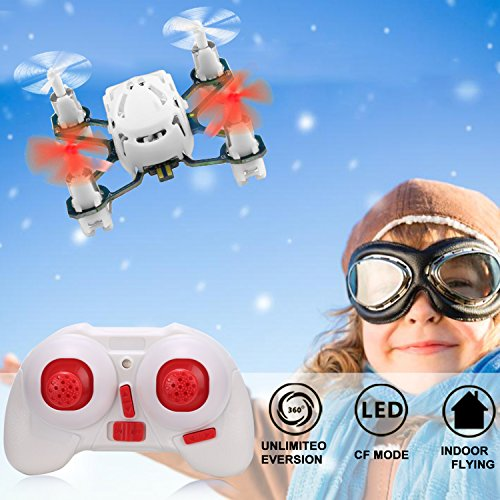 51wCQ5O22nL COOCHEER Hubsan H111 Q4 Nano 4-Channel 6 Axis Gyro RC Mini Drone Quadcopter with 2.4Ghz Radio System Mode 2 RTF for Kids (White)