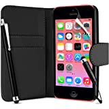 Supergets® Flip Pocket PU Wallet Leather Case Cover For Apple Iphone 5C / 5 C+ Screen Protector , 2 x Touch Screen Stylus and Polishing Cloth