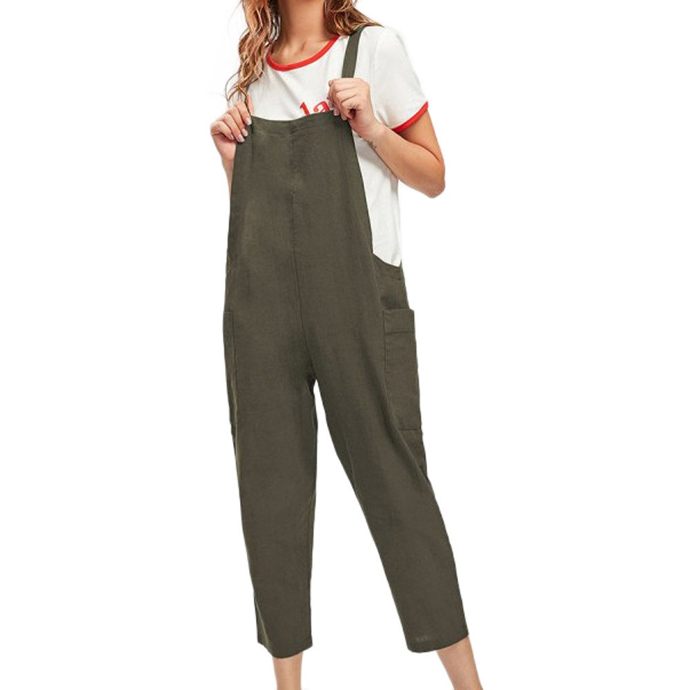 Zaidern Women's Jumpsuit Women Casual Dungarees Loose Cotton Pockets Jumpsuit Rompers Green