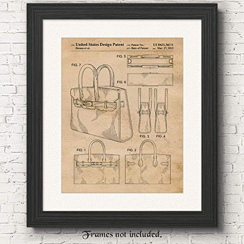 - Original Hermes Birkin Handbag 2012 Patent Poster Prints- Set of 1 (One 11x14) Unframed Photo- Great Wall Art Decor Gifts Under $15 for Home, Office, Studio, Designer, Stylist, Student, Teacher, Fan