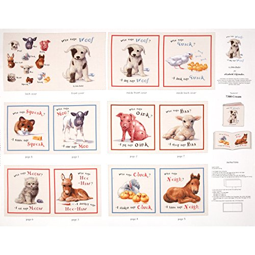 Animal Friends Soft Book Panel Cream Fabric - Friends Fabric Panel