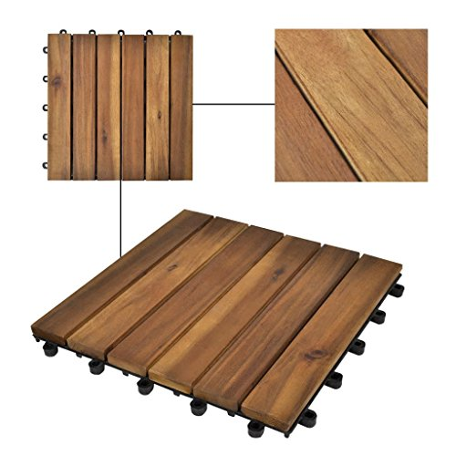Tidyard 10 pcs Acacia Tile Flooring, Patio Pavers Outdoor or Indoor Composite Decking Flooring Water Resistant Vertical Pattern 11.8