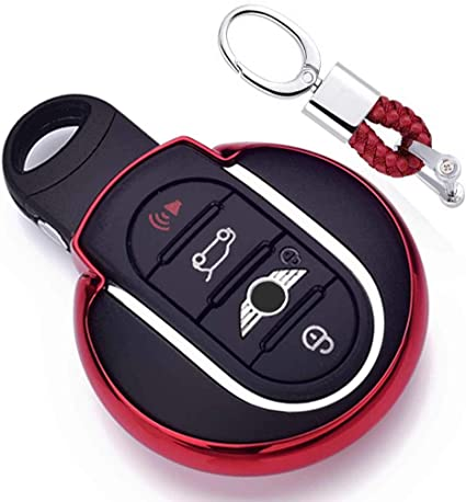 Imagen deRojo Funda de TPU Suave para Llave + Llavero para Coche BMW Mini Cooper F54 F55 F56 F57 F60 3/4-Buttons Smart Key