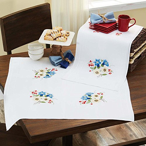 Herrschners Stella Table Topper Stamped Embroidery - Stamped Topper Table Embroidery