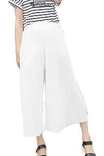 Bigood Pantalon Femme Mousseline de Soie Jambe Large Plissé Casual Plage 714f0957b56b