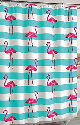 CHF Flamingo Stripe Shower Curtain One Size White/aqua blue