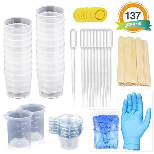 LETS RESIN Mixing Cups Epoxy Resin Cups with Sticks Kit - 2pcs 100ml Measuring Cups, 20pcs 2oz Graduated Cups,50pcs Disposable Cups with Mixing Sticks,Dropping Pipette & Gloves for Resin, Paint