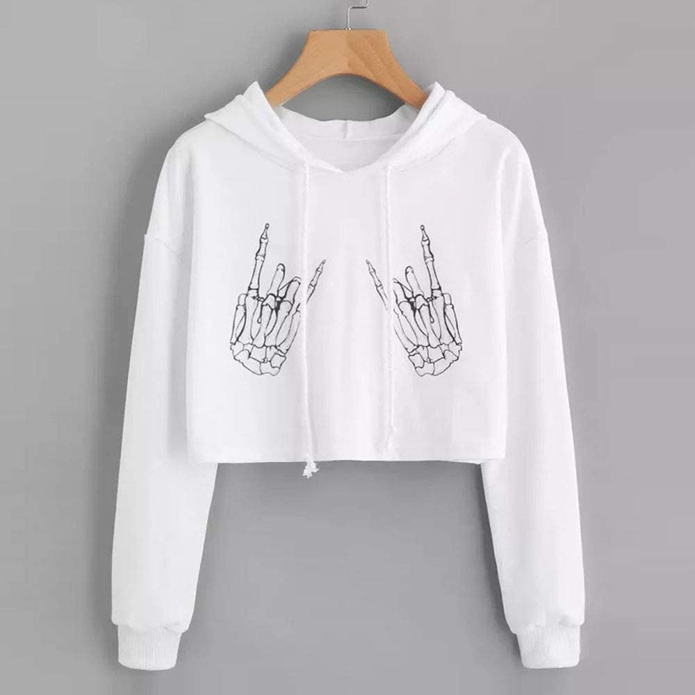 Armfre Tops Womens Pullover Crop Top Hoodie Halloween Skeleton Hand Print T Shirt Drawstring Loose Fit Sweatshirt Blouse for Ladies Casual Active