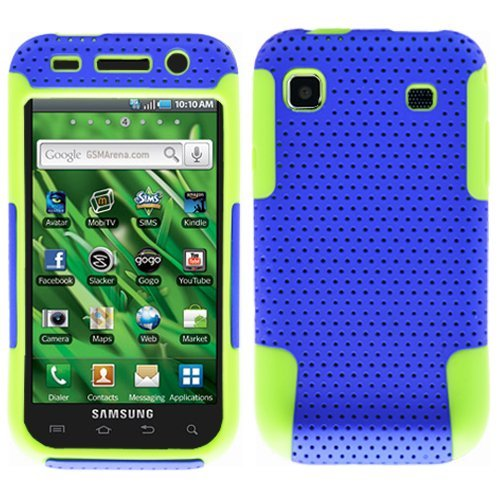 Blue Green 2 in 1 Hybrid Rubber Plastic Skin Case Cover for Samsung Galaxy S Vibrant T959/ Samsung Galaxy S 4g/ T-mobile