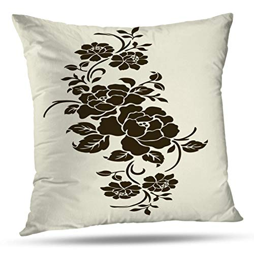 KJONG Rose Motif Flower Flower Floral Stencil Rose Black Border Square Decorative Pillow Case 20 x 20inch Zippered Pillow Cover for Bedroom Living Room(Two Sides Print)