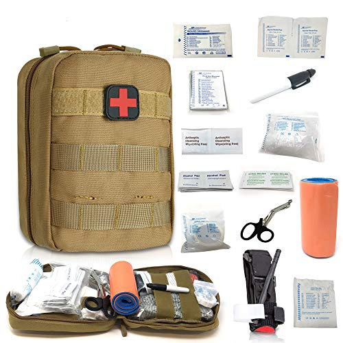Emergency Trauma Tactical Kit - First Aid SurvivalKit - First Medical Portable Kit for Military Car Boat Home Office Hiking Camping Hunting Travel Adventures Earthquake - Survival Gear Kit Medical (Best Survival Medical Kit)