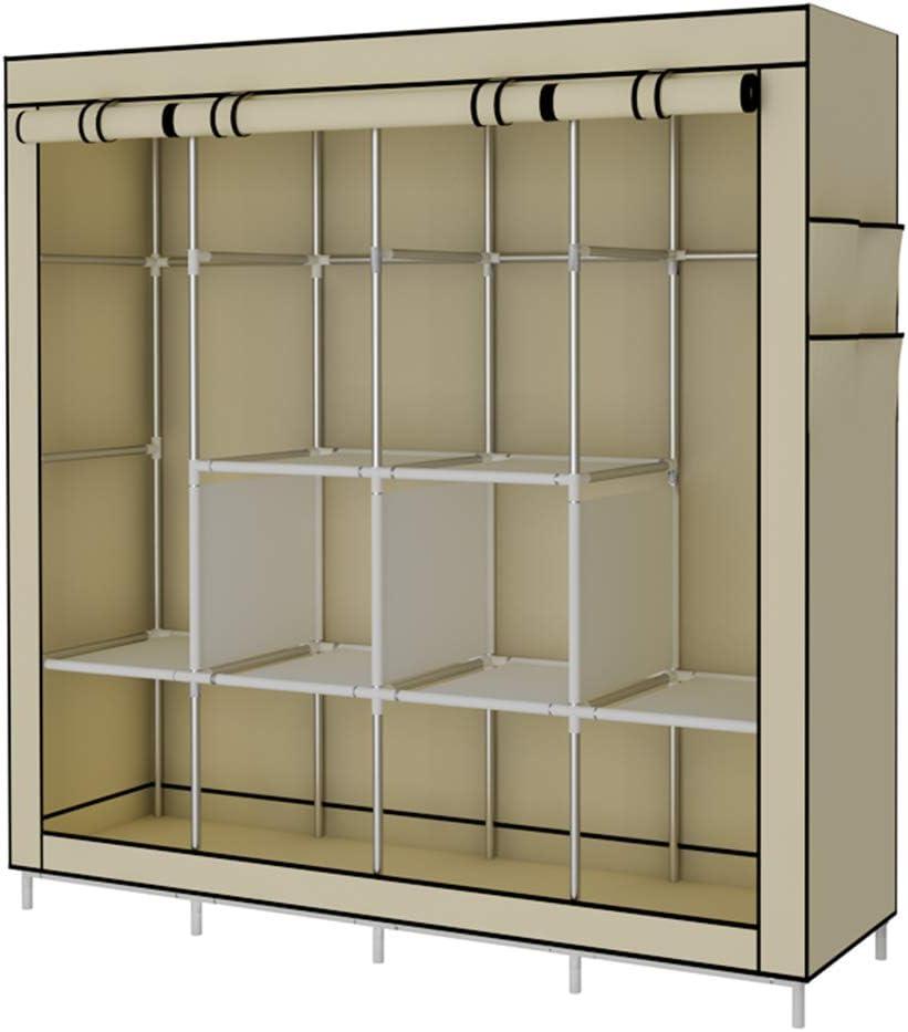 YAYI Portable Wardrobe Clothing Wardrobe Shelves Clothes Storage Organiser with 4 Hanging Rail,Beige