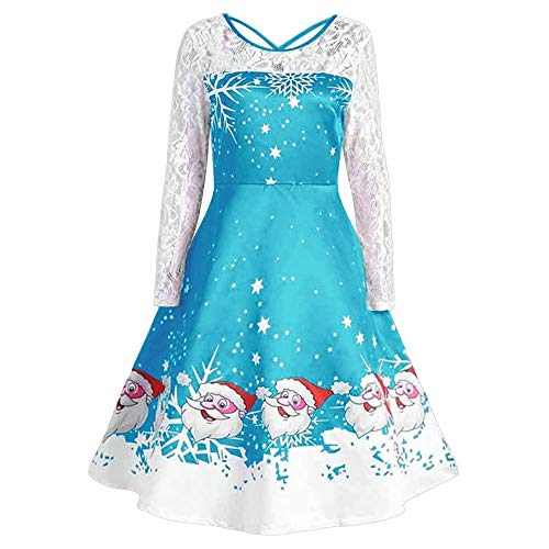 (Christmas Women's Vintage Lace Long Sleeve Print Christmas Party Swing Dress(W-Blue ,XXL))