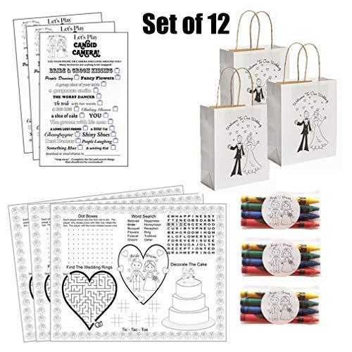 Kids Wedding Activities Set Wedding Activities For Kids Set Comes With (12), Wedding Activity Placemats (12), Wedding Scavenger Hunt Sheets and (12), Set of Crayons (12) Wedding Favor Bags