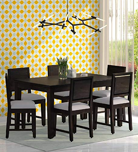 Ramdoot Furniture Solid Sheesham Wood Dining Table 6 Seater Set with 6 Chairs  Warm Chestnut Finish