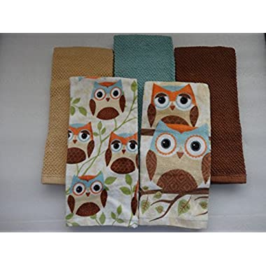 Owl Kitchen Towels 5 Piece Set - 2 Print and 3 Plain