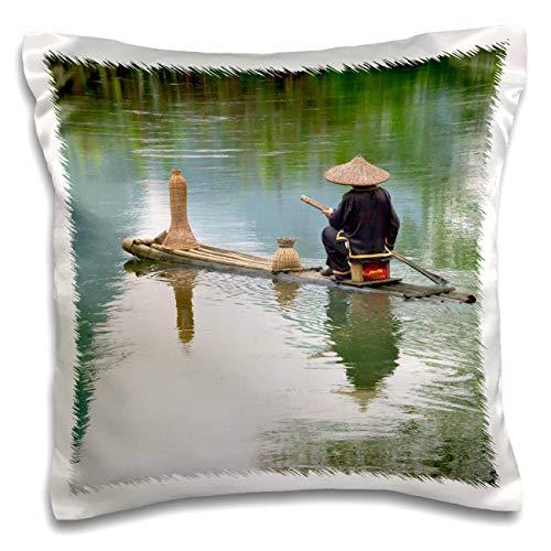3dRose Danita Delimont - China - Fisherman on bamboo raft on Mingshi River, Guangxi Province, China - 16x16 inch Pillow Case (pc_312677_1)