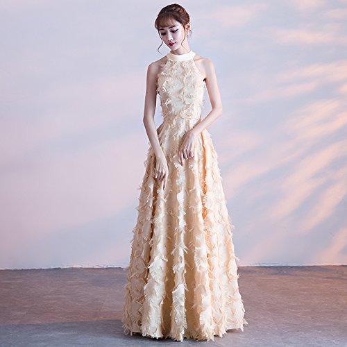 dünne Lange Bankett Kleid Champagner Edle Hals Abendkleid Elegante Damen Bankett Gastgeber Brautjungfer MoMo hängenden HSqX4WxAnw