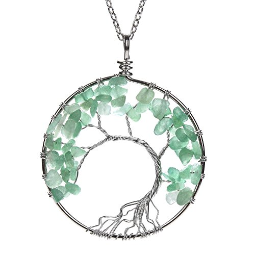 APURSUE Green Aventurine Crooked Necklace Tree Of Life Pendant Necklace with 2 Chains + 2 Waxed Cotton Cord, Nature Stone Handmade Amethyst Crystal Necklace Gemstone Chakra Jewelry Women Valentine's