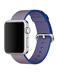 Apple Watch Band, iitee New Release  Woven Nylon Classic Bracelet Strap Bands Replacement with Adapters for Apple Watch iWatch  (38mm Royal Blue)