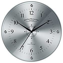Contemporary Wall Clock 10.5 of FirsTime Steel Whisper Features Tempered Glass Lens, Brushed Metal Dial and Whisper Movement, Ideal for Home
