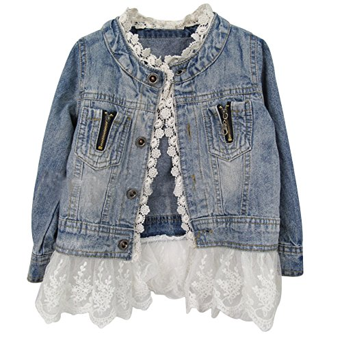 Kids Girls Casual Cute Floral Lace Button Denim Jacket Outerwear (7-8 Years, Blue)