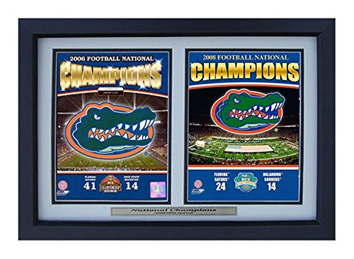 Encore Select 124-04 NCAA Florida Gators Deluxe Frame 2006 and 2008 Champions Print, 12-Inch by 18-Inch